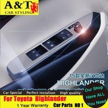 Тюнинг автомобилей для Toyota Highlander подлокотники дверей пайетки 2015 2016 Highlander окна панели переключателя подкладке Chrome стикер trim ca