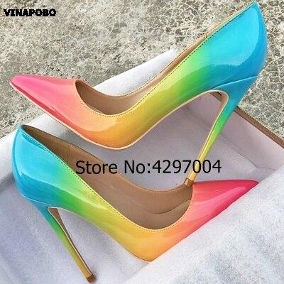 Vinapobo mode Sexty Stiletto pompes 2018 arc-en-ciel imprimé Designer chaussures femme 12 cm à talons hauts sandales fête mariage chaussures femmes