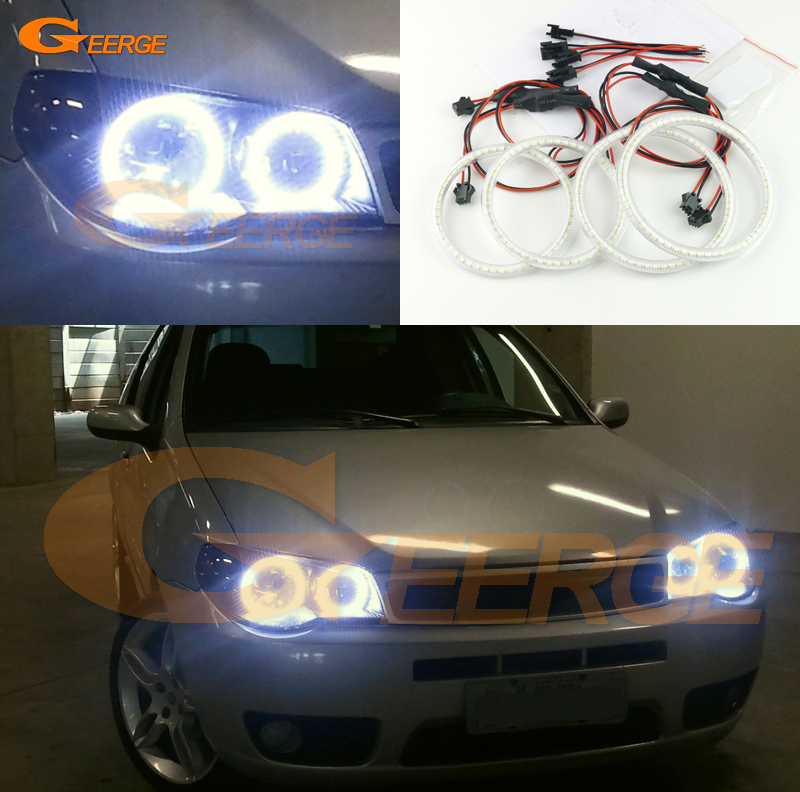 For FIAT PALIO 2004 2005 2006 Excellent angel eyes Ultra bright headlight illumination smd led Angel Eyes kit Halo Ring