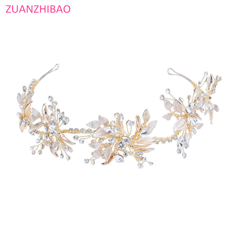 Vintage Gold Baroque Rhinestone Flower Wedding Headband Crystal Hairband Handmade Tiara Diadem Crown Hair Bridal Accessories