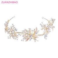 Vintage Gold Baroque Rhinestone Flower Wedding Headband Crystal Hairband Handmade Tiara Diadem Crown Hair Bridal Accessories