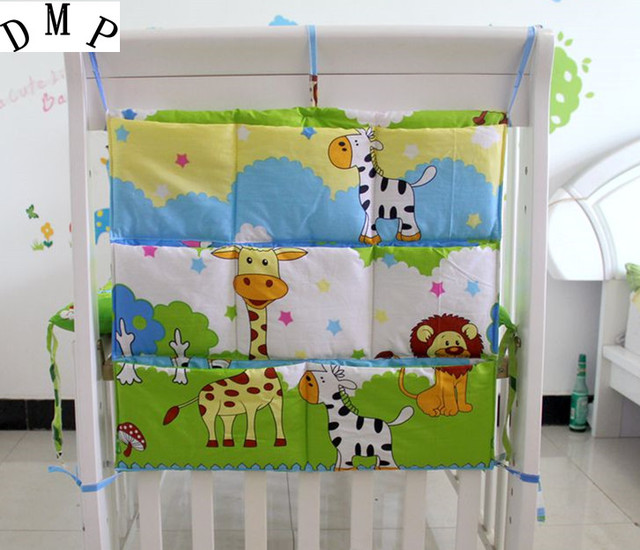 Promotion! Cartoon  62*52cm Baby Bed Accessories Mesh Fabric Baby Bedding Set Hanging Laundry Storage Bag