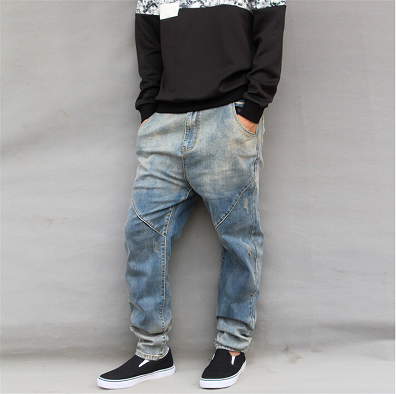 ФОТО 2015 New Fashion Men Harem Skateboard Jeans Loose Pants Casual Hip-Pop Trousers For Skaters Size M-6XL