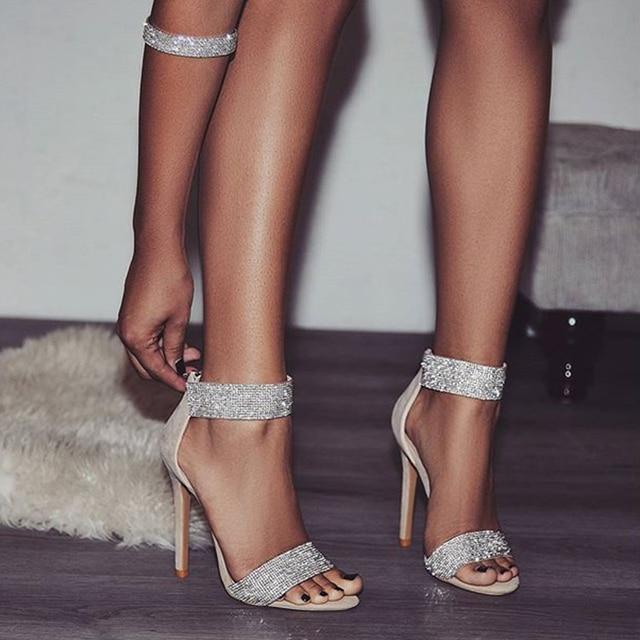 043ccbba8 Boussac Luxury Crystal Heel Sandals Brand Design Sexy Bling Rhinestone High  Heel Women Sandals Elegant Party Shoes Women SWC0234