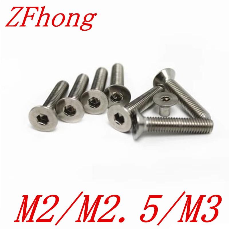 100pcs DIN7991 m2 m2.5 m3 stainless steel allen head Hex socket flat head countersunk screw m3 titanium screw kit 9 size 90pcs m3 hex socket flat head screw din7991 titanium bolt super light screws 5mm 20mm