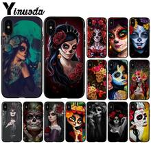 Yinuoda Catrina beautiful rose girl Skull Art Light Weight Mobile Case for iPhone SE 5 6 7 8 6plus 7plus 8 8Plus X XS MAX XR(China)