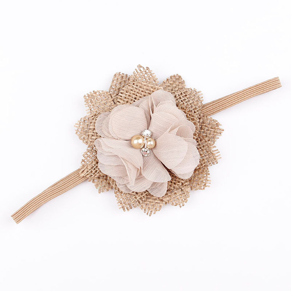 1PCS Cute Baby Girl Chiffon Flower Headband Burlap Flower Hair Band Headwear Newborn Infant Photo Shoot Hair Accessories