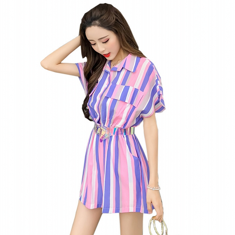Summer 2018 Striped Jumpsuit Women Loose Batwing Sleeve Pockets High Waist With Sashes Playsuit Overalls Rompers macacao S85690