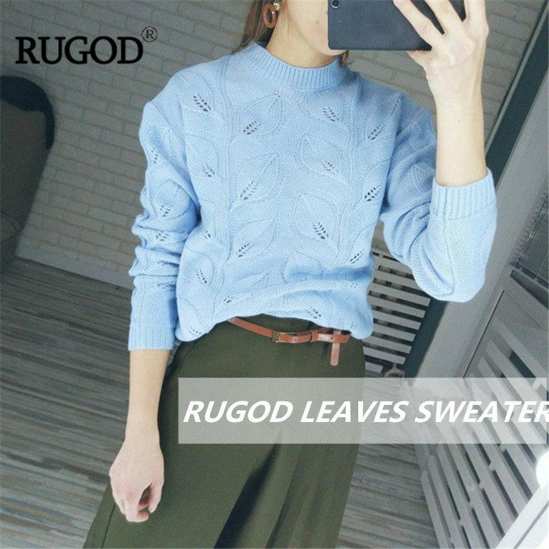 d9e9cb99625 RUGOD 2018 Elegant Leaves Pattern Crochet Sweater Women Autumn Winter Warm  Knitted Pullover Female Sweaters Befree