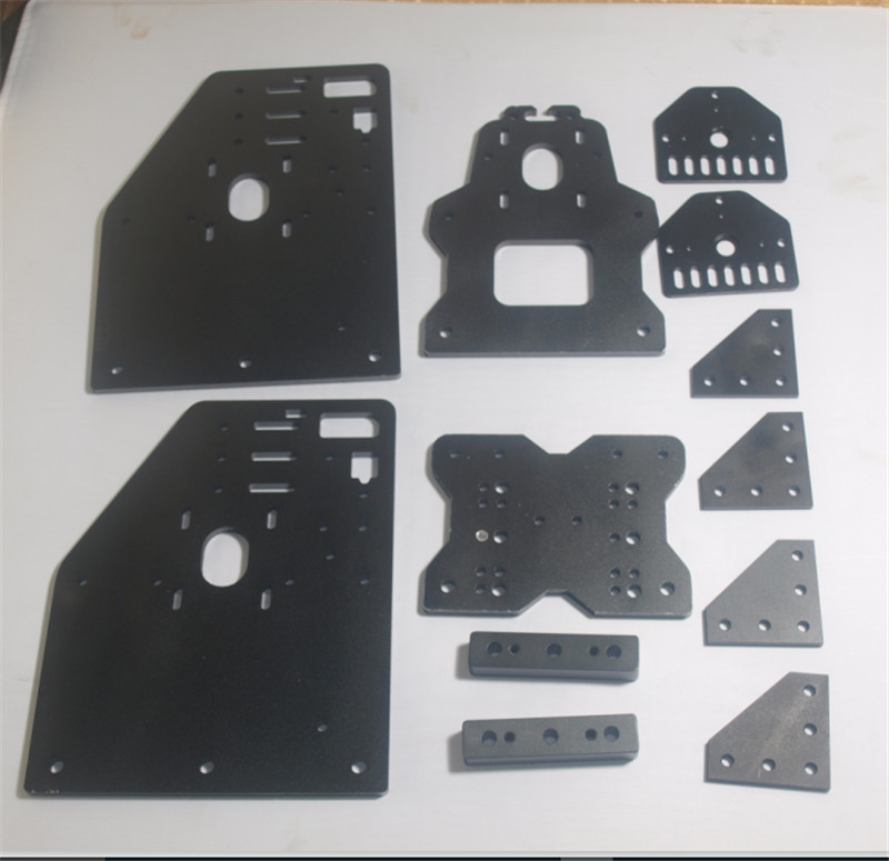 A Funssor Openbuilds OX CNC router gantry plate kit for NEMA 23 motor black color Fast ship 1pcs openbuilds slider gantry plate standard 65 65 3mm aluminum alloy cnc special slider plate for 3d printer