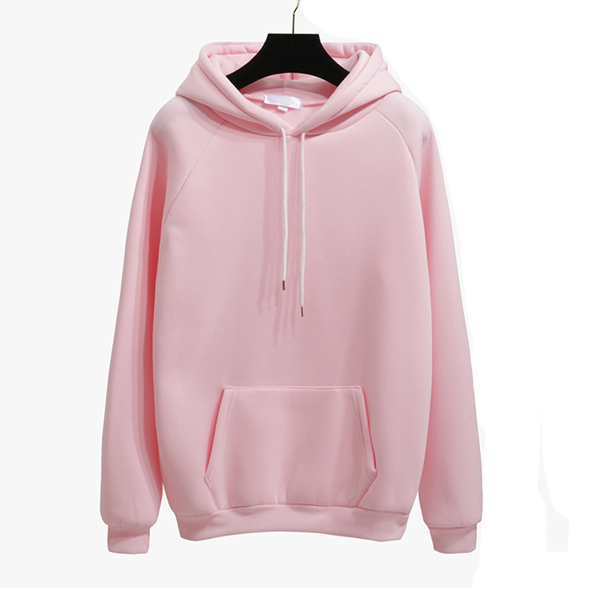 Autumn Winter Fashion Solid color Harajuku Lotus root pink Pullover Thick Loose Women Hoodies Sweatshirts Female