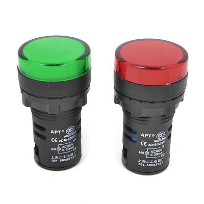 AC 380V 20mA Red Green LED Electrical Accident Indicator Pilot Light