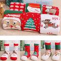 Tema de navidad Los Niños de Dibujos Animados de Algodón Jacquard Calcetines Rojos de la Navidad Calcetines de Bebé Absorber Permeabilidad Sudor Calcetines (un Tamaño)