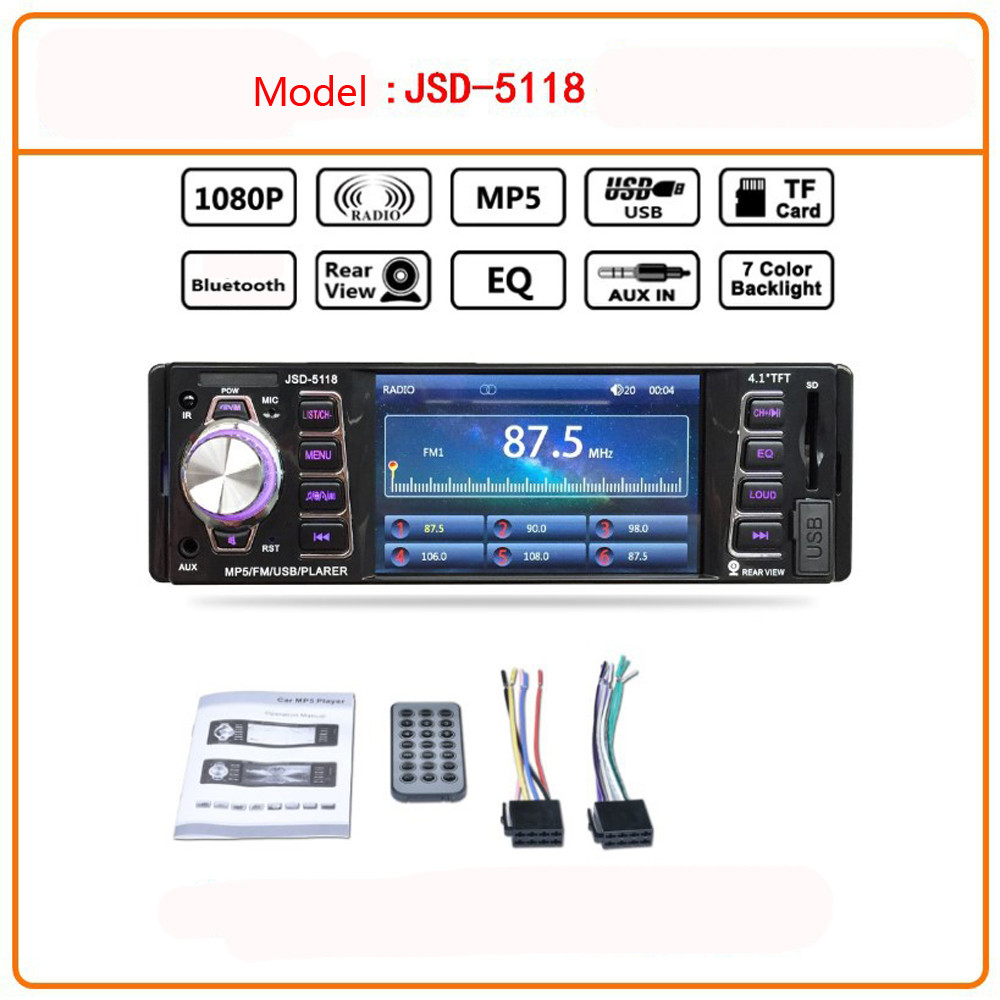 4.1in Bluetooth Car Audio Stereo FM DVD CD MP5 Player Receiver USB SD AUX Input Support playback AVI / JPEG / WMA / MP3 DC12V4.1in Bluetooth Car Audio Stereo FM DVD CD MP5 Player Receiver USB SD AUX Input Support playback AVI / JPEG / WMA / MP3 DC12V
