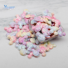 Xugar Glitter Rainbow Appliques Heart Patches for Hair Clip Decor Padded Patches for DIY Crafts Clothes Headwear Hat Accessories 60pcs 15 20mm glitter fabric bepowder heart applique cloth padded patches for clothes headwear hairpin wedding diy decor g92