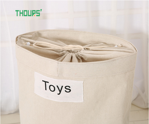 Thours Primary Color Cotton Linen Storage Bucket Large Fabric Beam Hamper Home Bedroom Sundries Finishing Storage Bag in Storage Baskets from Home Garden