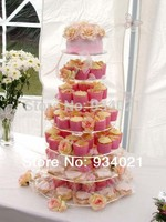 7 Tier Crystal Clear Acrylic Round Wedding Cup Cake Stand Tower Wedding Decoration