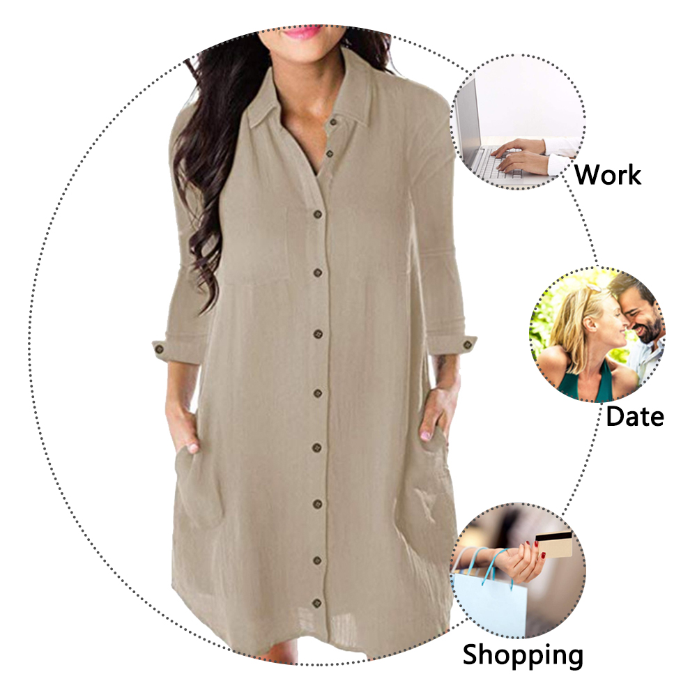 HTB1nmBEXf1H3KVjSZFBq6zSMXXat Women Loose Solid Dresses Turn Down Casual Ladies Office Shirt Dresses Button 2019 Summer Spring Long Sleeve Dresses Vestidos