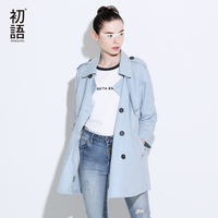Toyouth Trench Coat 2017 Spring Women Coats Casual Turn Down Collar Solid Color Three Quarter Sleeve
