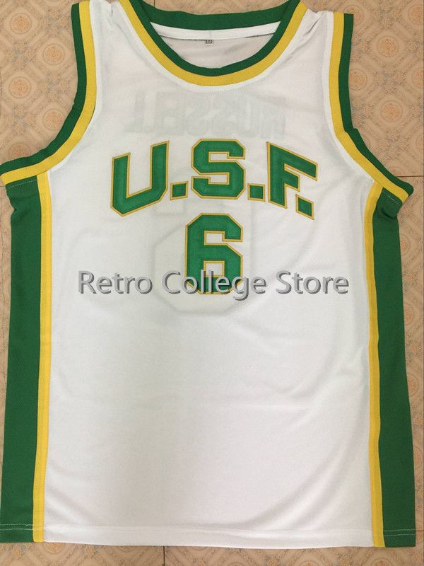 University of San Francisco  6 Bill Russell Basketball Jersey All Size  Embroidery Stitched Customize any name and name-in Basketball Jerseys from  Sports ... 4457ca2c6