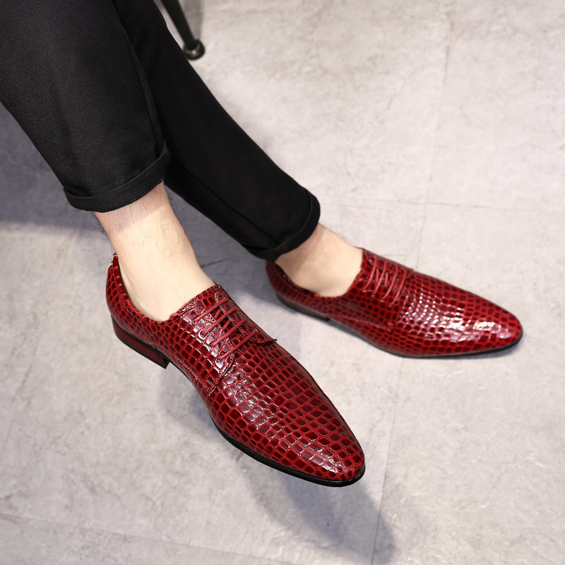 large Size 38-48 Men Crocodile Pattern Pointed Toe Lace Up Shoes Genuine Leather Bright Business Dress Shoes Wedding Shoes yween new men brogue dress shoes with lace up business leather shoes large size