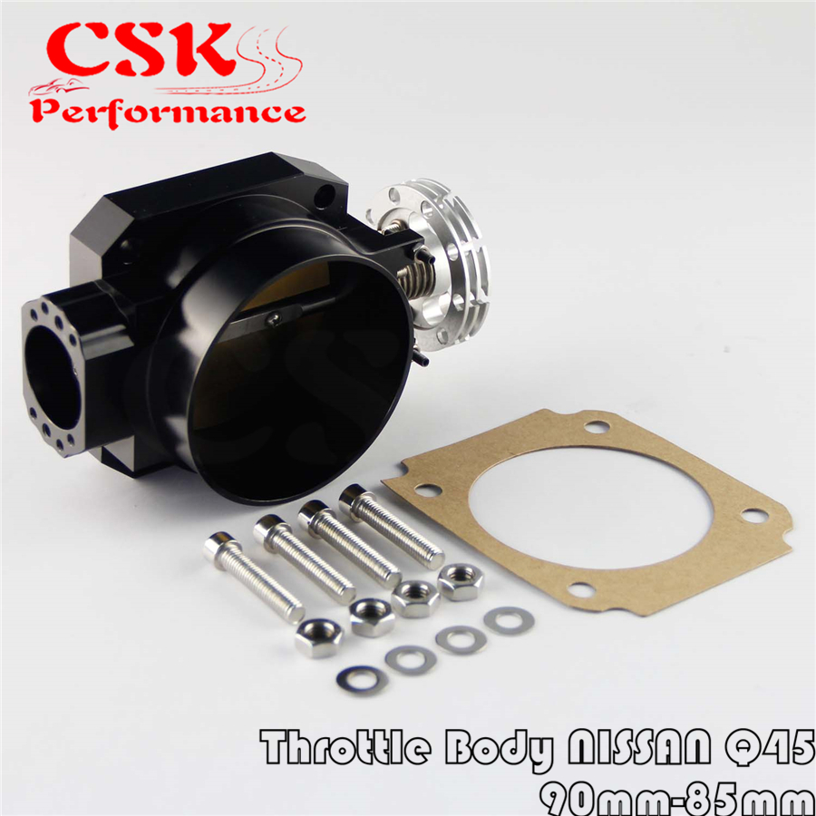 90MM-85mm Q45 Throttle Body <font><b>Intake</b></font> <font><b>Manifold</b></font> FOR NISSAN <font><b>RB25DET</b></font> RB26DET RB20DT GTS Black image