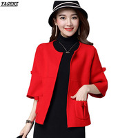 YAGENZ Hot Sale 2017 New Female Sweaters Spring Autumn Casual Tops Women Cardigan Seven Points Sleeve