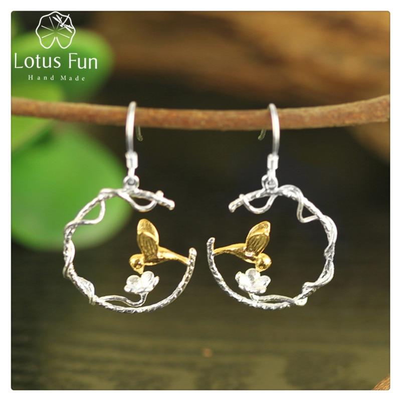 Lotus весело Настоящее стерлингового серебра 925 природных творческий ручной Ювелирные украшения идеальный Прекрасный Птица Висячие серьги для Для женщин brincos