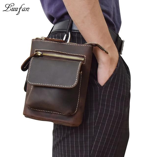 10debb3909 Men s genuine leather waist bag Dark brown 2 use small messenger bag cowhide  waist pack shoulder strap Leather messenger bag