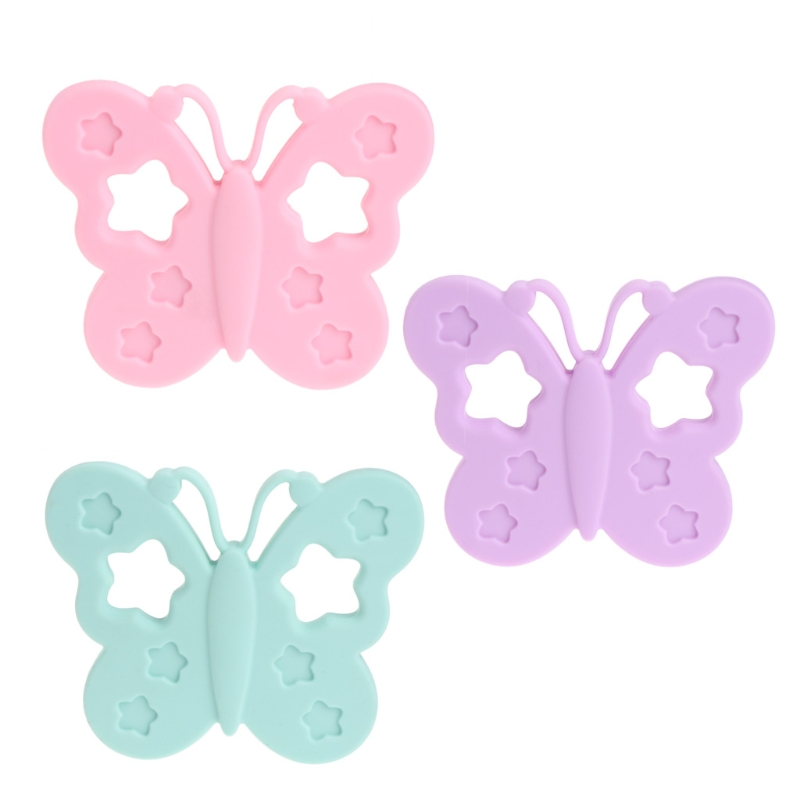 Baby BPA Free Silicone Butterfly Teether DIY Chewable Nursing Necklace Jewelry MAY4-A