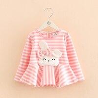 Primavera Queda 2-10Y Meninas coelho dos desenhos animados crianças blusa rosa listra Branca princesa camiseta Infantil Tops Manga Longa roupas criança