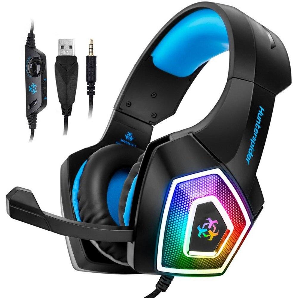 Hunterspider V1 Stereo Gaming Headset Casque Surround Sound Über-Ohr Kopfhörer mit Mic LED Licht für PS4 Xbox One PC