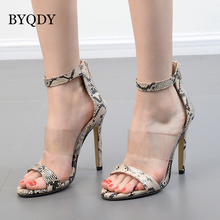 BYQDY Summer Cross Strap Ladies High Heel Sandals Snake Pattern Square Root High Heels Mature Sexy Roman Women Shoes Size 35-40 mature temptation mysterious sexy fashion ultra high documentary shoes black roman style hollow out super high heels