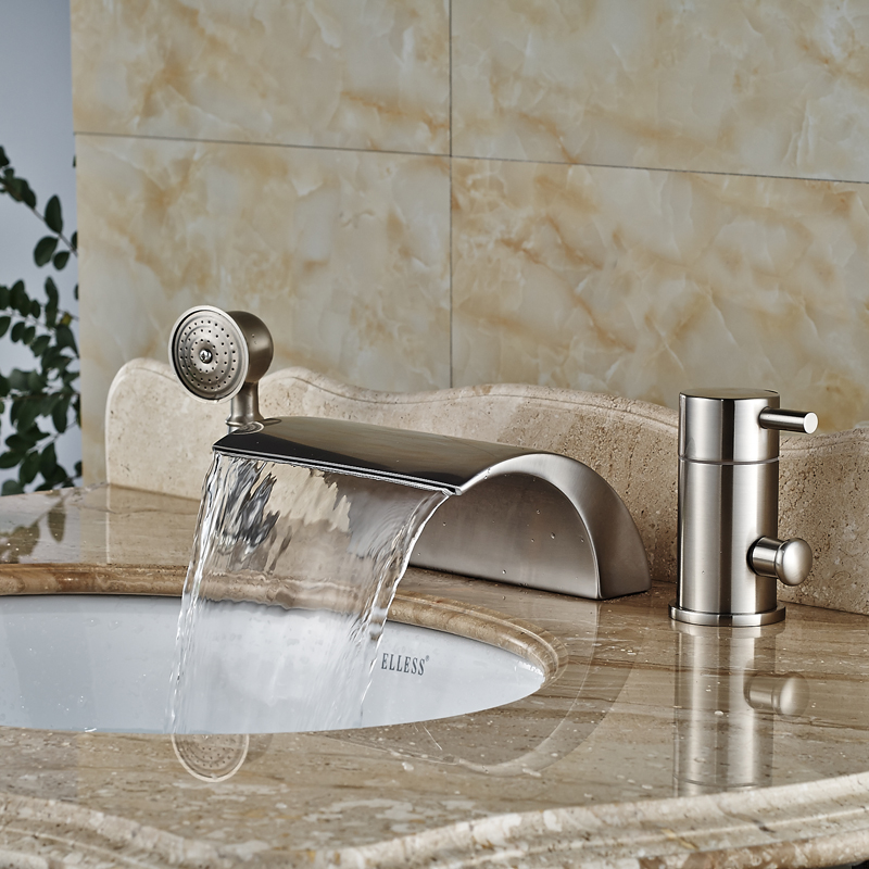 Bathroom 3pcs Waterfall Bathtub Filler Faucet Single Handle Roman Tub Mixers Brushed Nickel Hand Shower