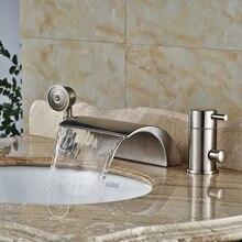 Bathroom 3pcs Waterfall Bathtub Filler Faucet Single Handle Roman Tub Mixers Brushed Nickel Hand Shower