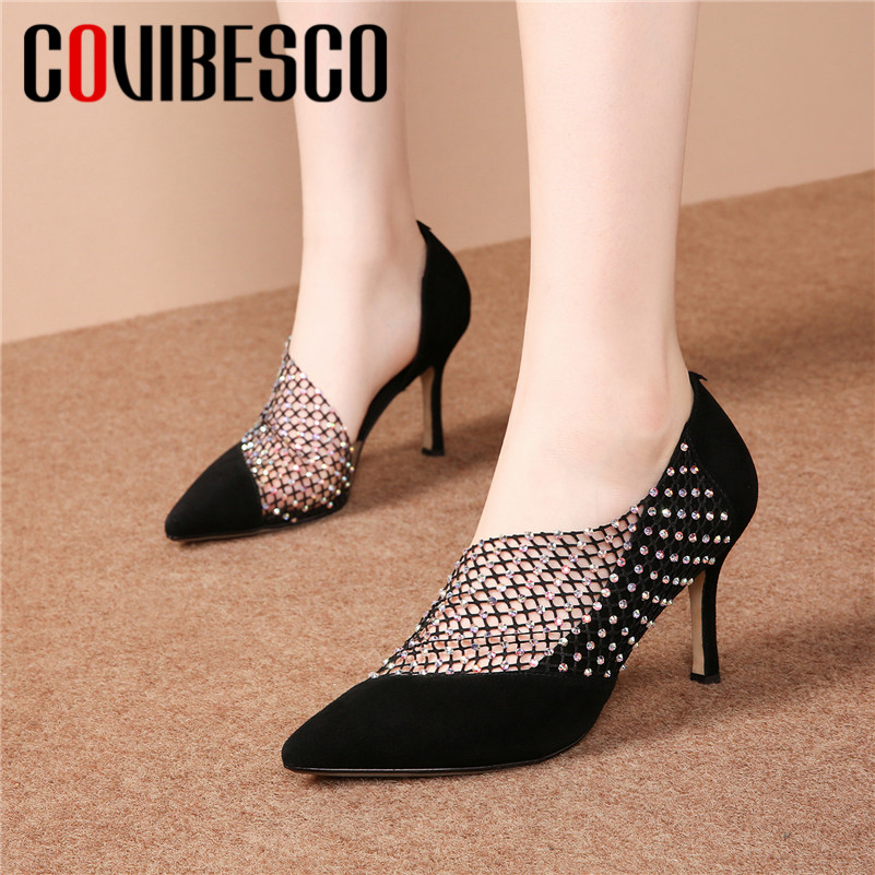 COVIBESCO Women Pumps Party-Shoes Thin-Heels Suede Elegant Pointed-Toe Summer New-Fashion