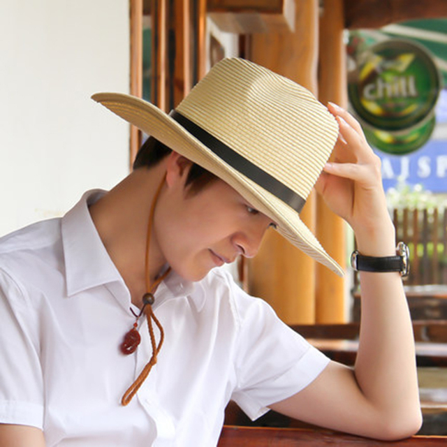Classic Outdoor Casual travel Straw hats for men wide brim floppy summer sun  hat high quality leather belt Foldable cowboy caps fe1c5dfb566