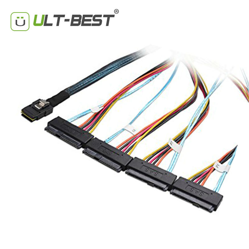 ULT-BEST Mini SAS 36Pin (SFF-8087) Host Male to 4x SAS 29 (SFF-8482) Target female with 4pin Power Cable 1m
