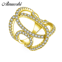 AINUOSHI 14K Solid Yellow Gold C Letter Ring Multi Layer Weaving Hollow Band Sona Diamond CZ Wedding Engagement Ring for Women