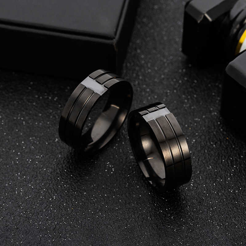 Men's Jewelry Rhinestone Ring Black Stainless Steel Rhinestone Fashion Double Ring Female Party Gift