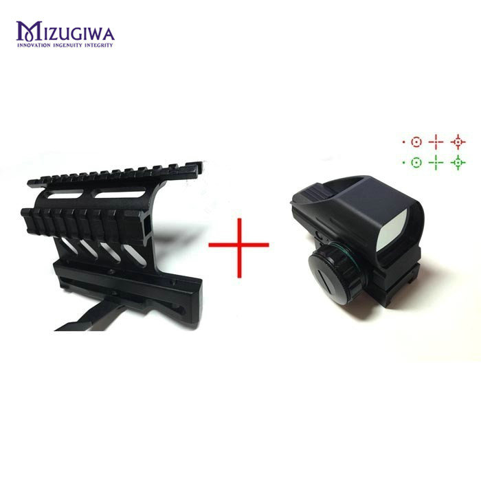 цена на MIZUGIWA Green Red Dot Sight Reflex Scope 20mm Hunting Tactical AK Holographic 1x22x33 Reflex + AK Side Mount Quick QD Style