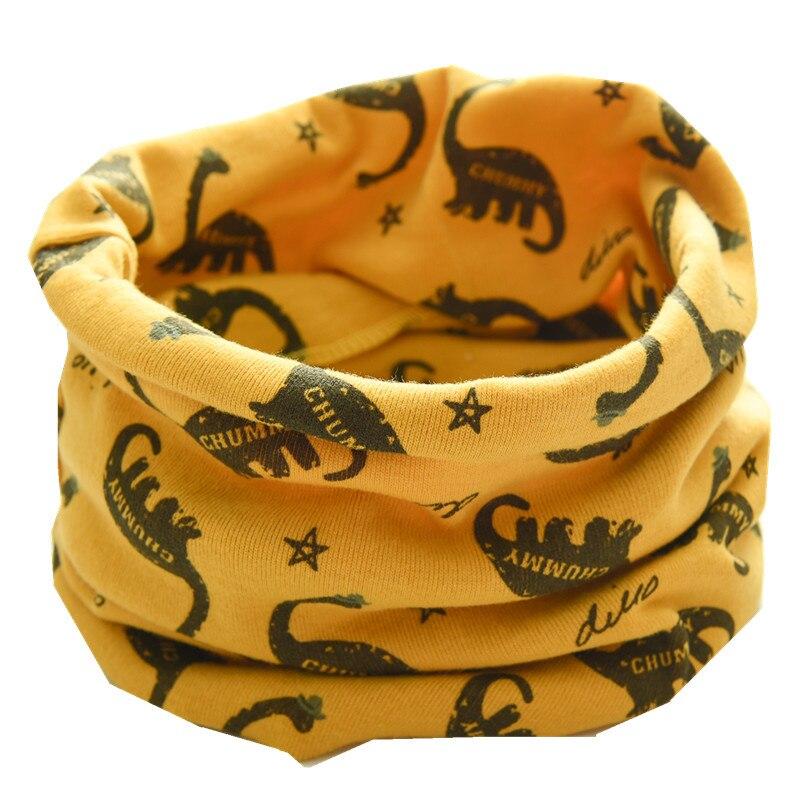 Новинка; сезон осень-зима; шарф из хлопка для девочек; Детский шарф; нагрудный шарф для мальчиков и девочек с круглым кольцом; милый детский шарф с воротником; Bufandas - Цвет: yellow dinasour