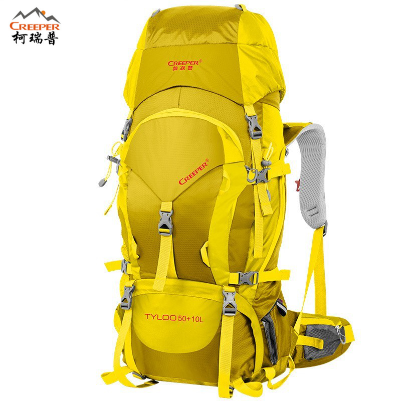 CREEPER Unisex Waterproof Professional Mountain Climbing Bag Women Men Travel Backpack Large Capacity 60L Camping Free Shipping creeper camping backpack 60l hiking climbing sport mountaineering double shoulder bag large capacity waterproof travel backpack