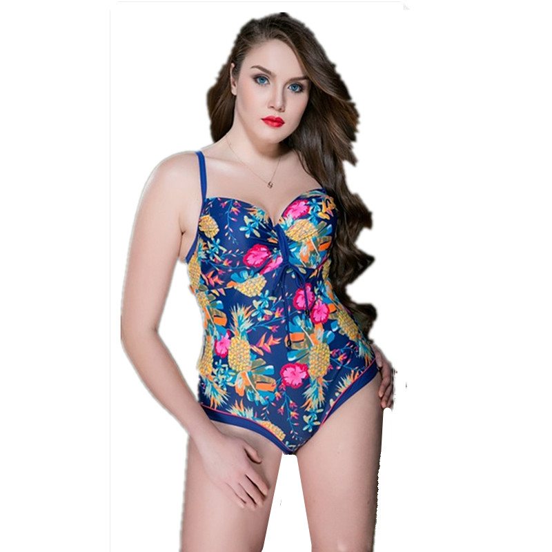 Plus Size Swimwear Female Floral Print One Piece Swimsuit Women Vintage Bathing One-Piece Suits 2017 Retro Large Size Swimsuit plus size womens swimsuit one piece backless swimwear floral print padded bathing suits large cup bust swimsuits for lady