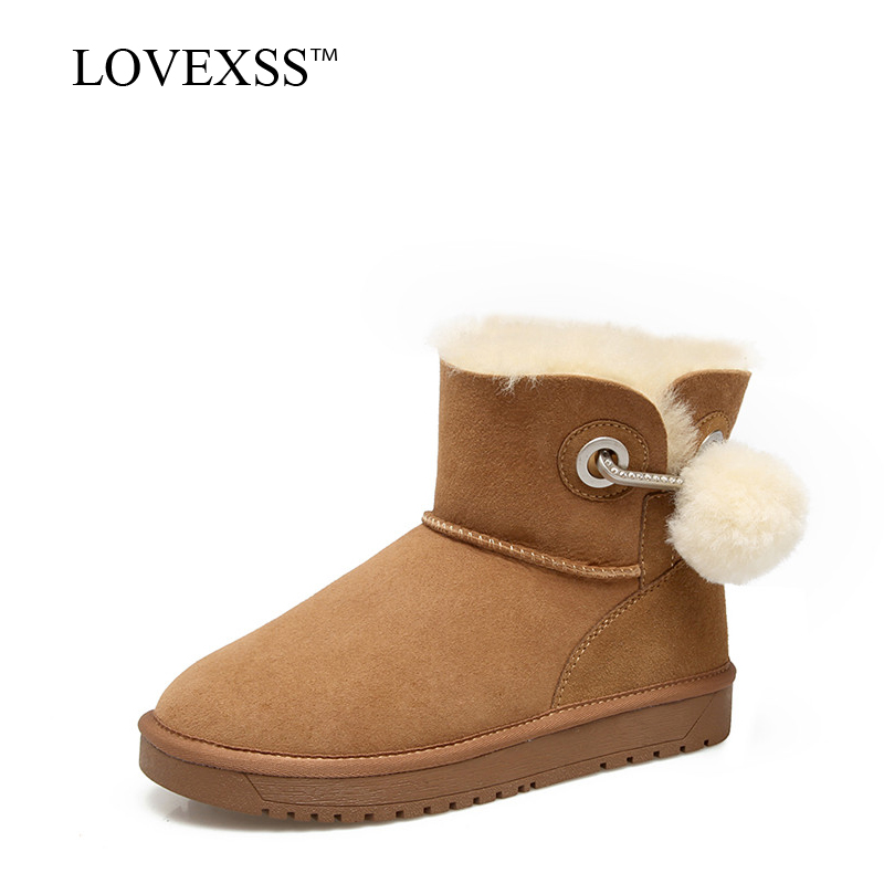 LOVEXSS Woman Shearling Snow Boots Winter Black Brown Gray Platform Ankle Boots Metal Decoration Genuine Leather Fur Ankle Boots