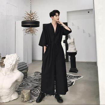New 2020 Men Casual Jumpsuit Overalls Male One Piece Long Sleeved Loose Jumpsuit Hair Stylist Youth Tooling Wide Leg Pants