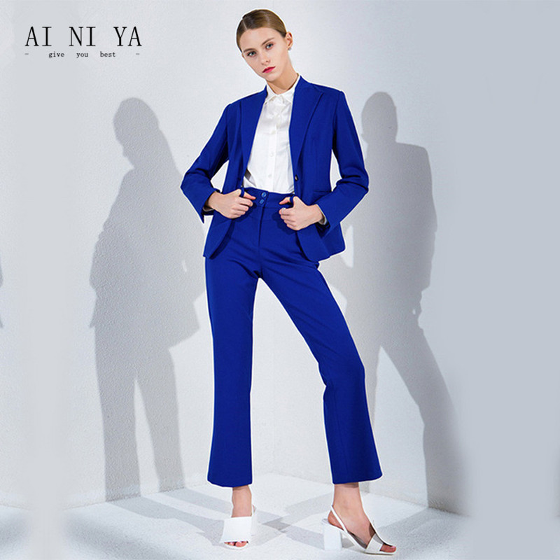new Royal Blue Pant Suits Women Casual Office Business Suits Formal Work Wear Office Uniform Styles Elegant Pant Suits Custom