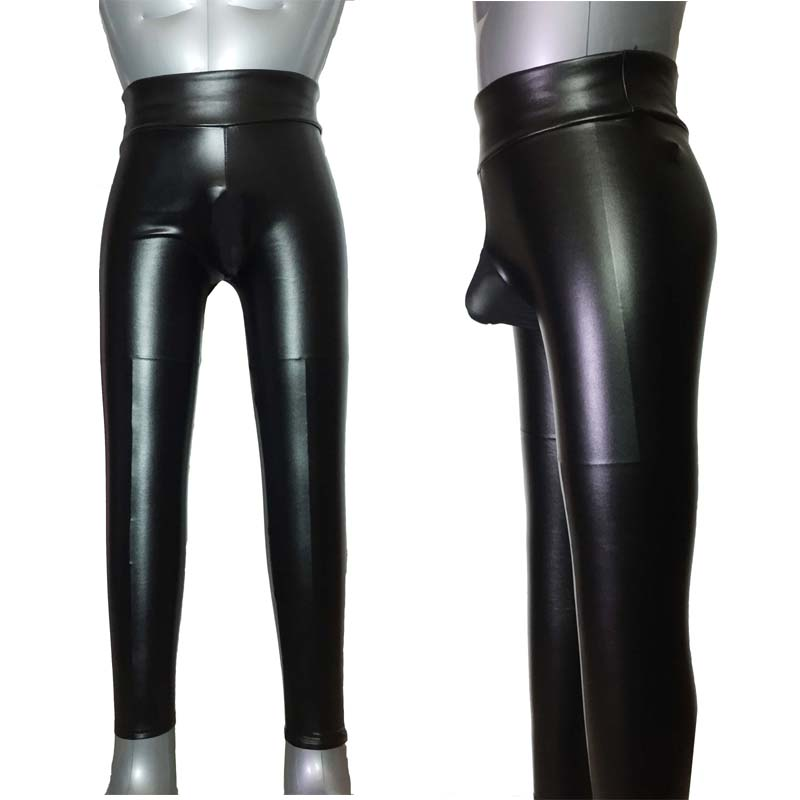 Sexy Men Skinny Tight Wet Look Winter Leggings Mesh Sheer Crotch Pouch Hot Pants Long Johns Tights Fetish Role Play Costume