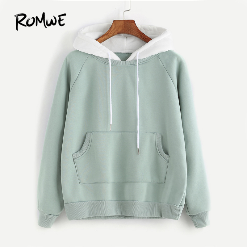 Romwe Pale Green Patchwork Hoodie Women Raglan Long Sleeve Cute Contrast Hooded Sweatshirt Fall Pocket Drawstring Hoodies