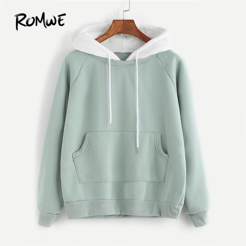 ROMWE Pale Green Patchwork Hoodie Women Raglan Long Sleeve Cute Contrast Hooded Sweatshirt  Fall Pocket Drawstring Hoodies